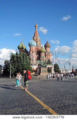 MOSCOW - JULY 11, 2016: St. Basil Cathedral Red Square Moscow Russia. UNESCO World Heritage Site.
