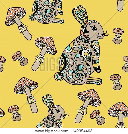 Seamless pattern with forest hare and mushroom. Cute cartoon animal background. Boho striped. Vector