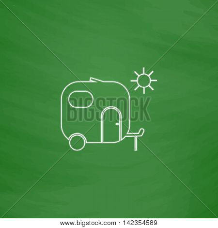 trailer Outline vector icon. Imitation draw with white chalk on green chalkboard. Flat Pictogram and School board background. Illustration symbol
