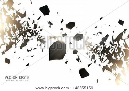 Powerful burst. Black particles on white background. Explosion cloud of black pieces with glow lights. Abstract vector illustration