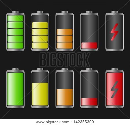 Set of vector illustration with a charged and discharged battery for a smartphone. Isolated on black background.