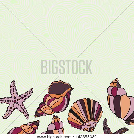 Vector Frame Illustration of Shells. Color Holiday greeting card with shells and starfishes on the waves and place for text.