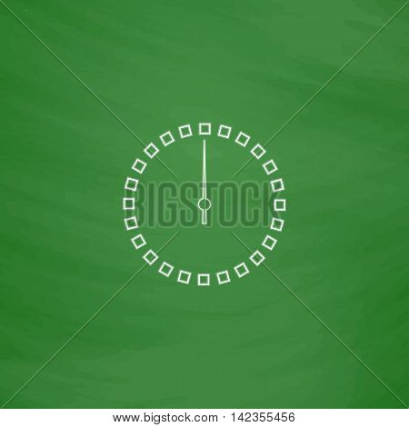 dial clock Outline vector icon. Imitation draw with white chalk on green chalkboard. Flat Pictogram and School board background. Illustration symbol