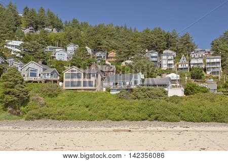Oceanside township on a hillside Oregon coast.