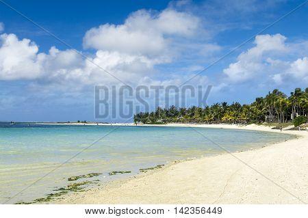 Beautiful Belle mare coastline in Mauritius island