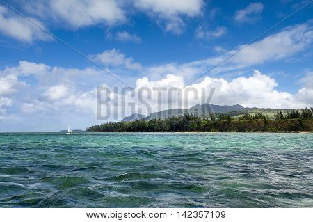 Landscape of beautiful Bel Ombre coastline in Mauritius
