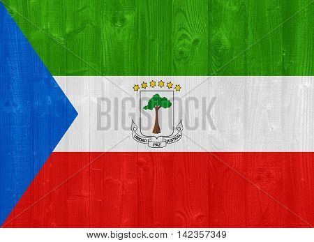 Equatorial Guinea Flag Painted On A Wood Plank Texture