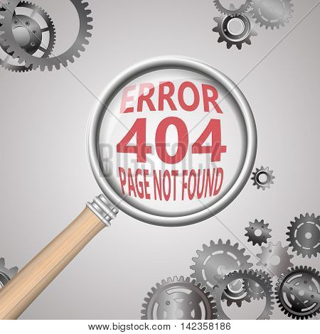404 error connection. magnifying glass and gears.vector illustration
