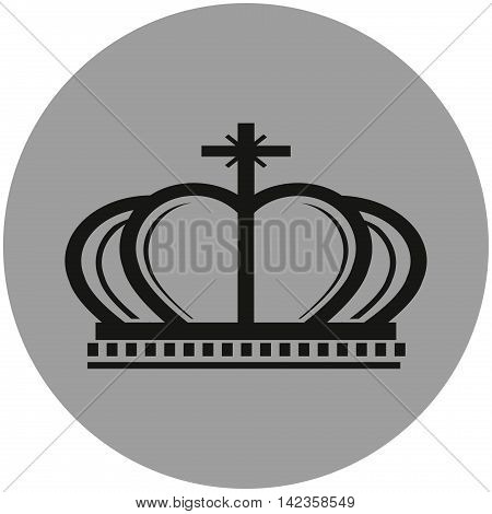 Crown sign icon. King hat symbol. Gray circle button with icon. Vector