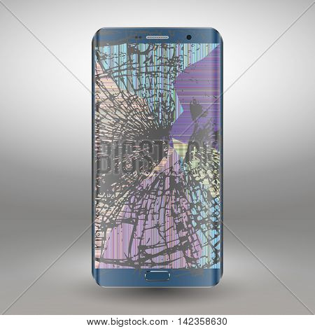 Broken mobile phone on a gray background. vector illustration