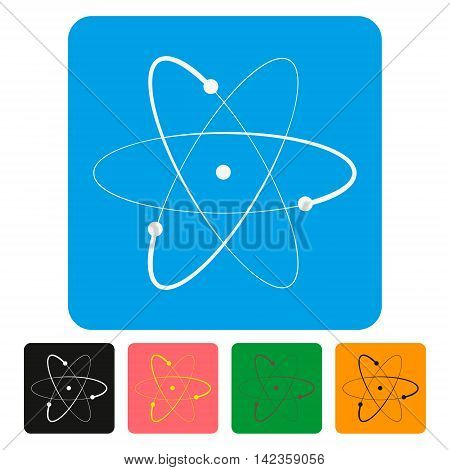 Atom sign icon. Atom part symbol. square colourful 5   buttons. Vector