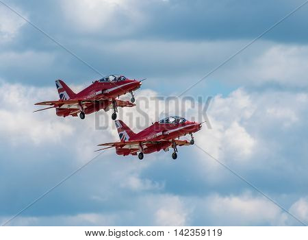 CHESTER UNITED KINGDOM - August 06 2016: Red Arrows departing from Chester Airport. Chester Airport August 06 2016