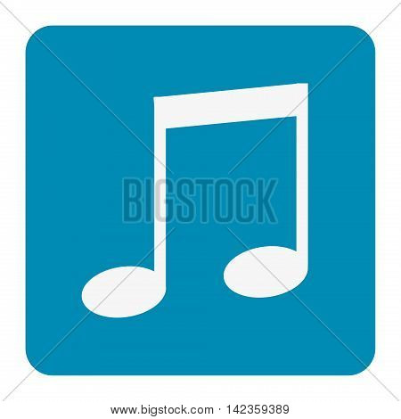 Music note blue   icon .blue button. Vector illustration