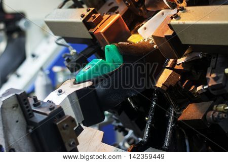 in the production of machines are working on the production of footwear