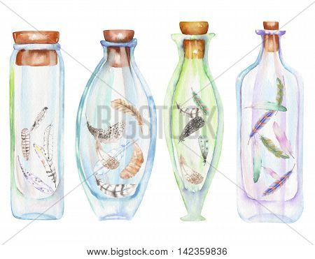 Illustration romantic and fairytale watercolor bottles with air feathers inside, hand drawn isolated on a white background