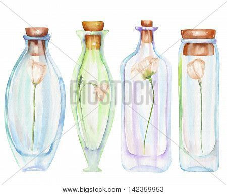 Illustration romantic and fairytale watercolor bottles with tender flowers inside, hand drawn isolated on a white background