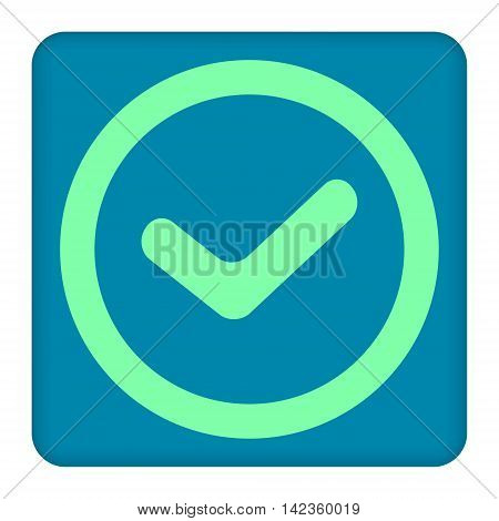 True check mark sign, vector   on a blue background