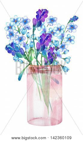 An image, illustration of a bouquet of the wildflowers (forget-me-not (Myosotis) and lavender flowers) in a glass jar, painted in a watercolor on a white background