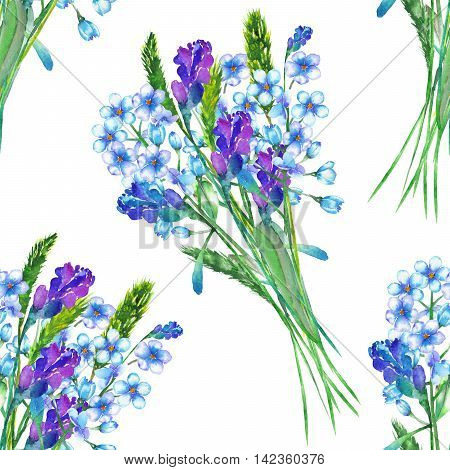 Seamless floral pattern with the bouquets of blue forget-me-not flowers (Myosotis) and lavender flowers, painted in a watercolor on a white background