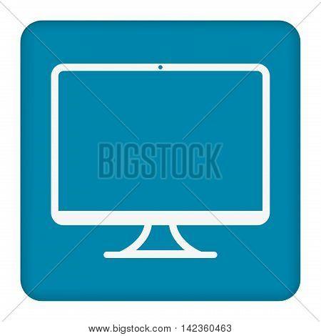 Computer widescreen monitor sign icon. White flat icon.