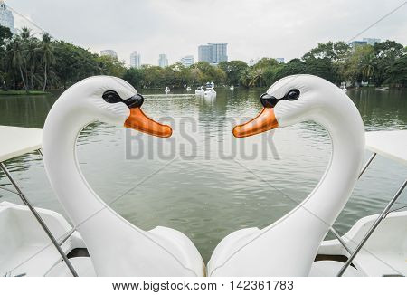 Swan Pedal Boat in heart shape in Bangkok Park