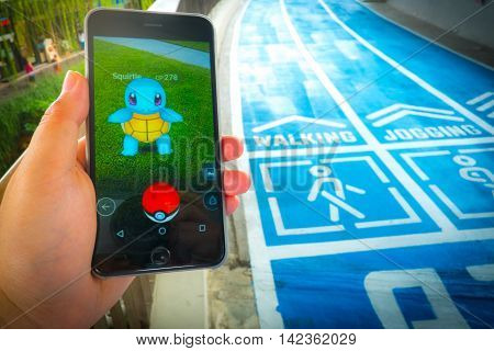 Bangkok, Thailand – August 12,2016: Pokemon Go Mobile Game App