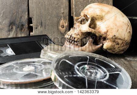 Rustic Ghost skull for horror Movie Film Strip