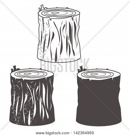 Stump black and white silhouettes set vector illustration. eps10