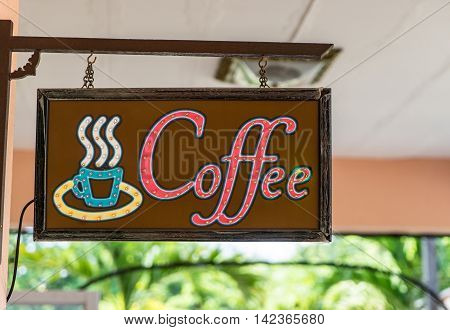 Neon Coffee Shop Cafe hanging wooden signage