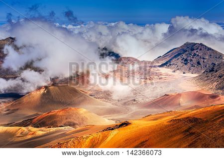 Haleakala Volcano On  Maui Island In Hawaii