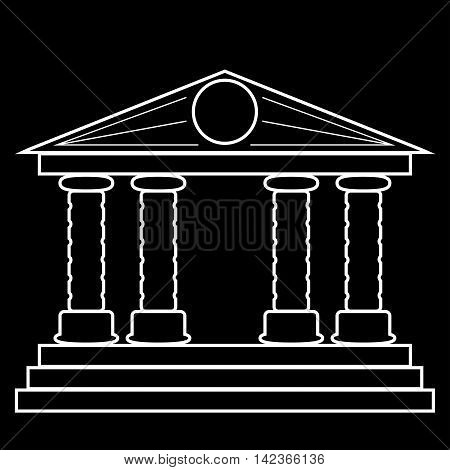 silhouette of the building with four columns. blank for design. vector illustration