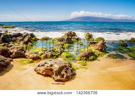 Rocks, And Pacific Ocean Waves On The Island Of Maui