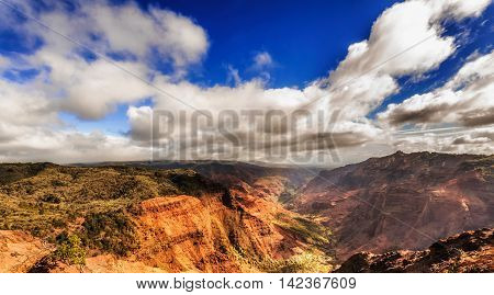 View At The Waimea Canyon  On  Kauai Island In Hawaii.