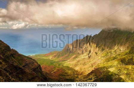 View At The Coast Line From Kalalau Valley Lookout In  Kauai Island Of  Hawaii