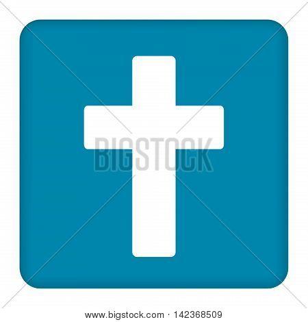 White cross symbol vector icon. Blue square. Blue button