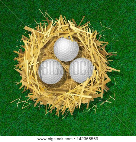 Golf balls in a straw nest on grass background. Top view. Colorful vector isolated illustration