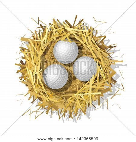 Golf balls in a straw nest on a white background. Top view. Colorful vector isolated illustration