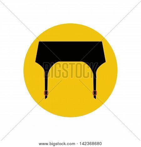 Garter belt illustration on the yellow background. Vector illustration