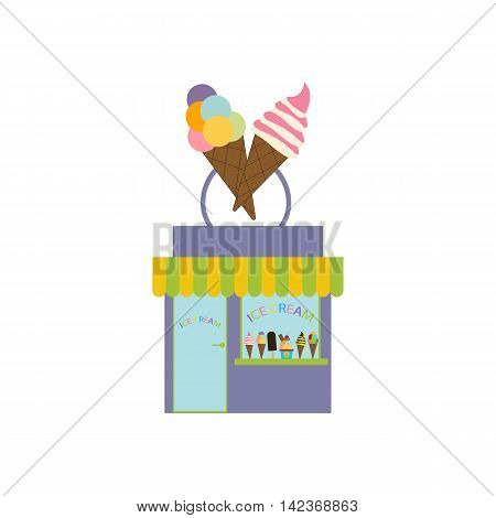 Ice cream shop illustration on the white background. Vector illustration