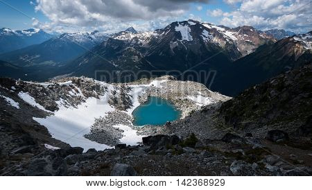 A high alpine lake surrounded by mountains.