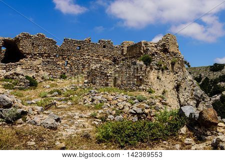 Ruins of the Old castle Pili, Kos island, Dodecanese, Greece.