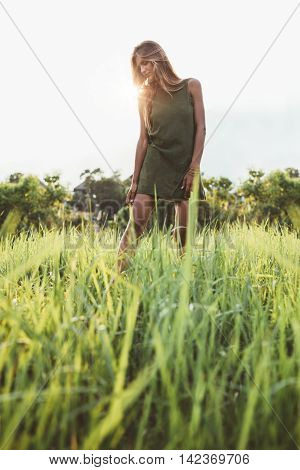 Outdoor shot of beautiful young lady walking through the meadow. Female model in sundress in the summer field.