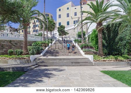 Mahon/Spain. 20th June 2012. The port of Mahon is accessed vua steps from the old town in the Menorcan capital on a warm sunny June day.