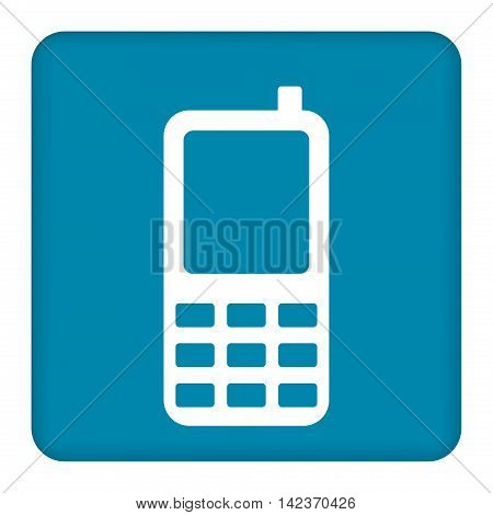 Vector flat blue icon of an old phone with buttons.