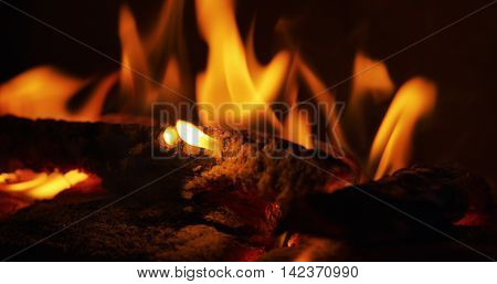 close up photo of flames in a fireplace
