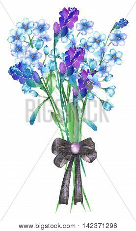 An illustration with an isolated bouquet of the beautiful watercolor blue forget-me-not flowers (Myosotis), lavender flowers and spikelets, decorated by a bow, on a white background