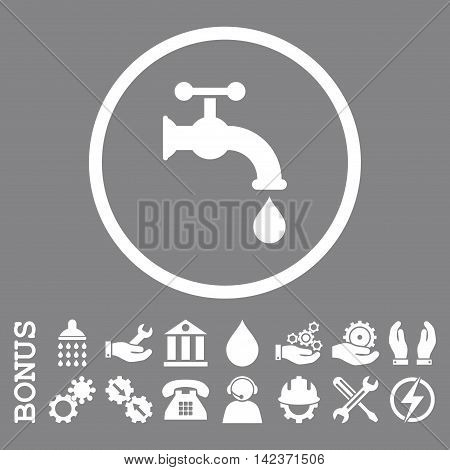 Water Tap vector icon. Image style is a flat pictogram symbol inside a circle, white color, gray background. Bonus images are included.