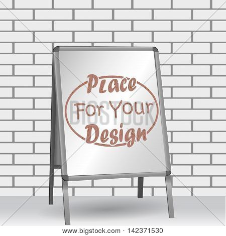 Sandwich board isolated on a brick wall. vector illustration.