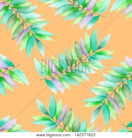 A seamless floral pattern with the green and violet leaves on the branches, hand-drawn in a watercolor on a tender orange background
