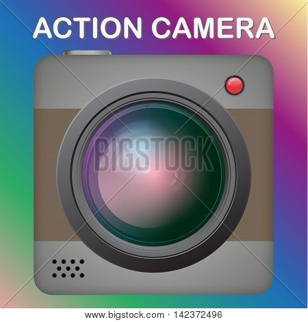 New model of an action video camera. Realistic vector image isolated on white background.
